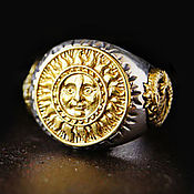 Украшения handmade. Livemaster - original item Sun Ring of silver 925 and brass. Handmade.