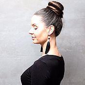 Украшения handmade. Livemaster - original item Earrings Tassels Black Agate. Handmade.