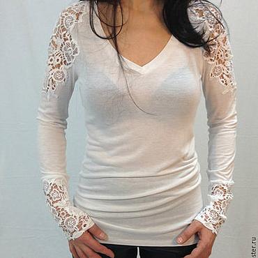 Одежда ручной работы. Ярмарка Мастеров - ручная работа Белая женская блузка из хлопка/Кружевная рубашка/F1151. Handmade.