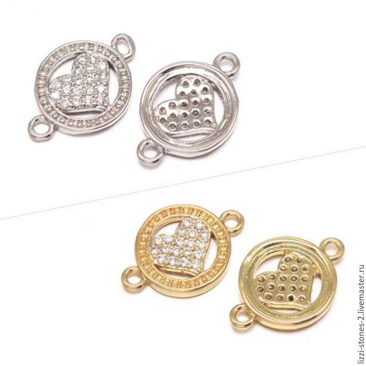 Коннектор Сердце в круге серебро и золото (Milano) Евгения (Lizzi-stones-2)