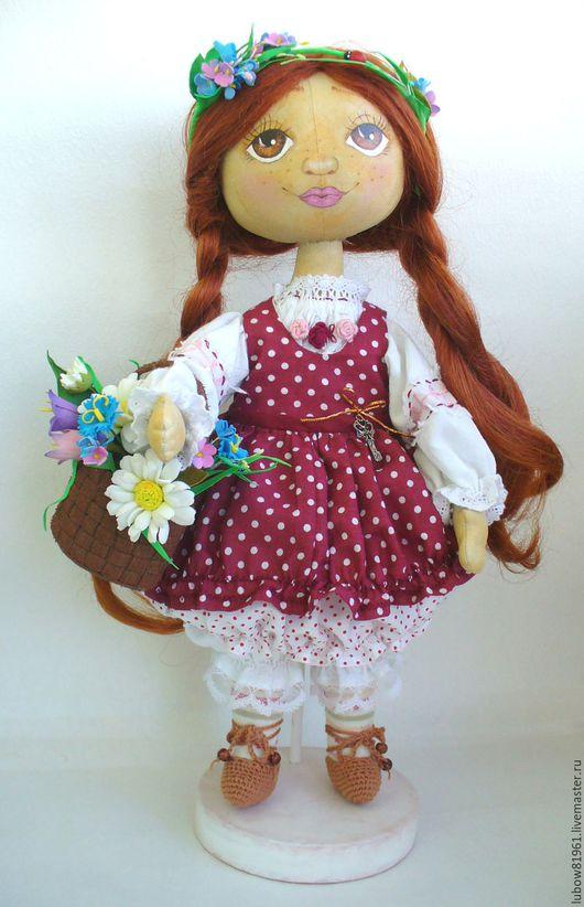 Куклы тыквоголовки ручной работы. Ярмарка Мастеров - ручная работа. Купить Текстильная кукла  - Лушенька.. Handmade. Каштановый, хорошее настроение