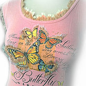 T-shirts handmade. Livemaster - original item T-shirt pink Butterfly Volumetric decor Hand embroidery beads rhinestones. Handmade.