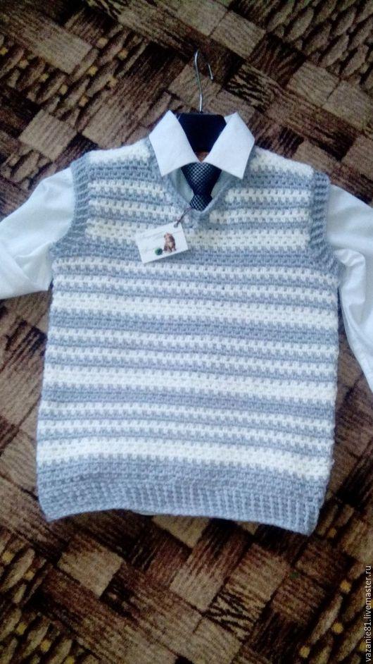 Одежда для мальчиков, ручной работы. Ярмарка Мастеров - ручная работа. Купить жилет классический. Handmade. Серый, крючком, ручная работа