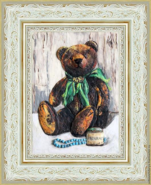 """Мишки Тедди ручной работы. Ярмарка Мастеров - ручная работа. Купить """"Мишка с зеленым бантом"""". Handmade. Белый, мишка, хендмейд"""