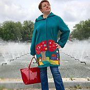 Одежда ручной работы. Ярмарка Мастеров - ручная работа Домики Легкое пальто Морской волны из лодена. Handmade.