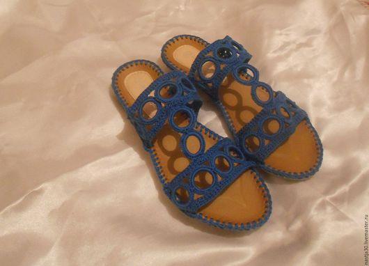 Обувь ручной работы. Ярмарка Мастеров - ручная работа. Купить Шлепки. Handmade. Синий, шлепки, ручная работа, подошва ТЭП