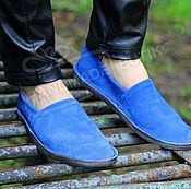 Обувь ручной работы handmade. Livemaster - original item Espadrilles made of suede electric Blue unisex. Handmade.