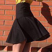 Одежда ручной работы. Ярмарка Мастеров - ручная работа Юбка на кокетке, с воланом, из костюмной шерсти. Handmade.