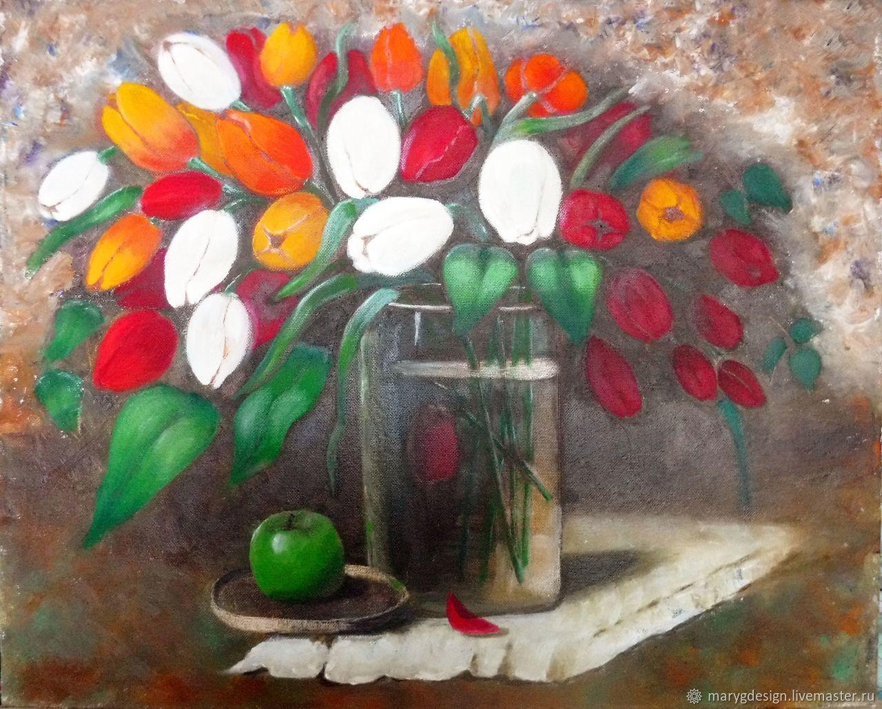 Тюльпаны в вазе, Картины, Москва,  Фото №1