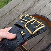 Аксессуары handmade. Livemaster - original item Leather belt belt mod.Komandir Black. Handmade.