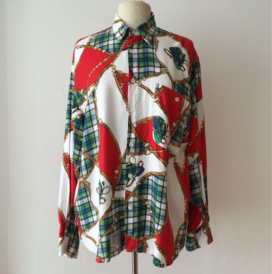 Одежда. Ярмарка Мастеров - ручная работа. Купить Винтажная мужская рубашка с ярким принтом. Handmade. Комбинированный, винтажный стиль, винтаж