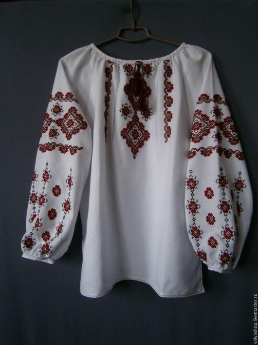 Блузки ручной работы. Ярмарка Мастеров - ручная работа. Купить Блуза-вышиванка из домотканого полотна белая 44-46р.Орнамент. Handmade.