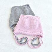 Одежда детская handmade. Livemaster - original item Double winter hat with ears. Merino, Angora.. Handmade.