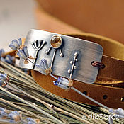 handmade. Livemaster - original item Sterling silver bracelet with citrine and genuine leather