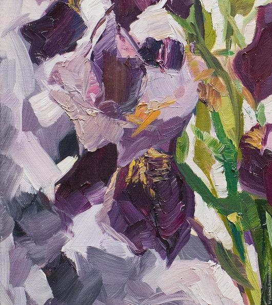 Ирисы цветы в подарок Картина маслом на холсте Импрессионизм картина Яркая картина в интерьер Сиреневые фиолетовые цветы