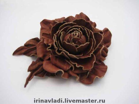 цветы из кожи, кожаные цветы, кожаные изделия,изделия из кожи, коричневая розочка из кожи, коричневый цветок из кожи, ободок с цветами из кожи, обруч для волос с цветком, кожаный ободок , аксессуары д