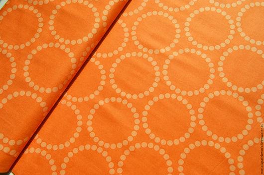 """Шитье ручной работы. Ярмарка Мастеров - ручная работа. Купить Ткань  хлопок для пэчворка """"Круги"""". Корея. Handmade. Оранжевый, ткань"""