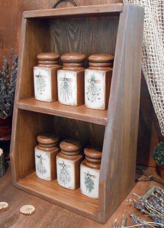 Полка с набором баночек для специй. Для уютной кухни. Массив дерева. `LedaksDecor`.