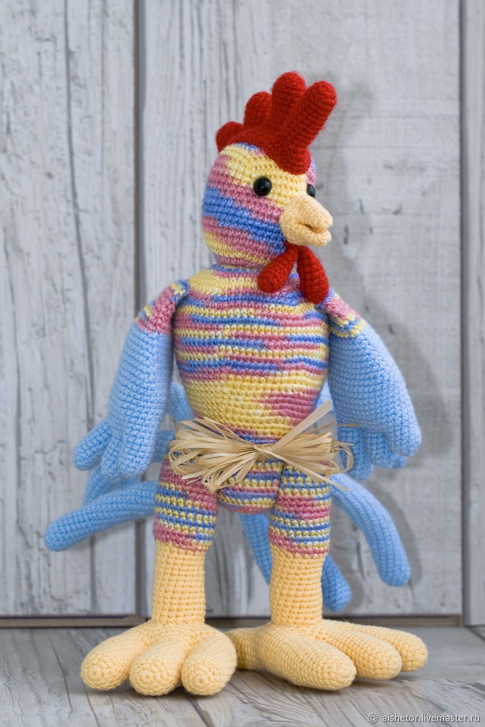Rooster Lenya knitted toy, Stuffed Toys, Moscow,  Фото №1
