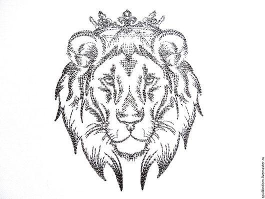 Льняной мешочек с вышивкой `Барбарийский лев` `Шпулькин дом` мастерская вышивки