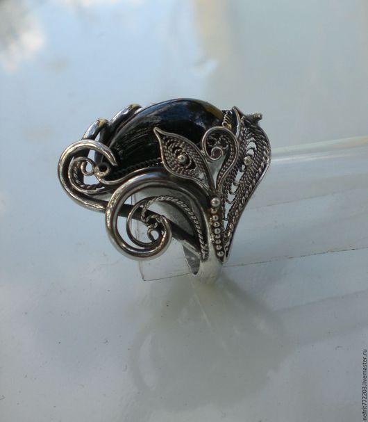 Кольца ручной работы. Ярмарка Мастеров - ручная работа. Купить Кольцо с шерлом. Handmade. Чёрно-белый, крупный перстень