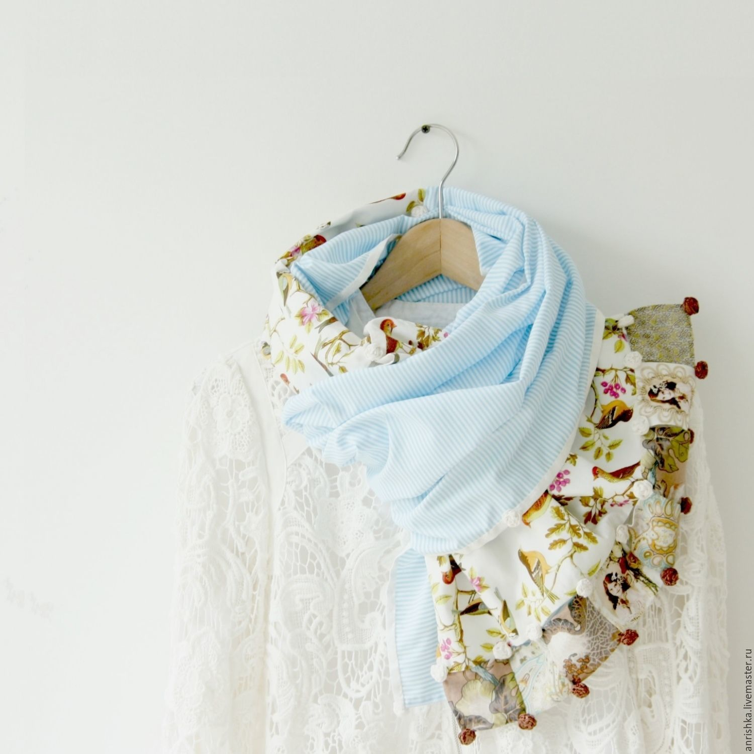 Scarf. Tippet. Blue rim, birds, roses. Silk and cotton, Scarves, St. Petersburg,  Фото №1