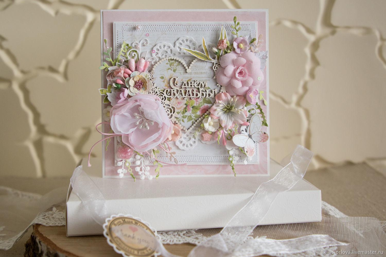 Льняной, открытка свадебная в коробочке