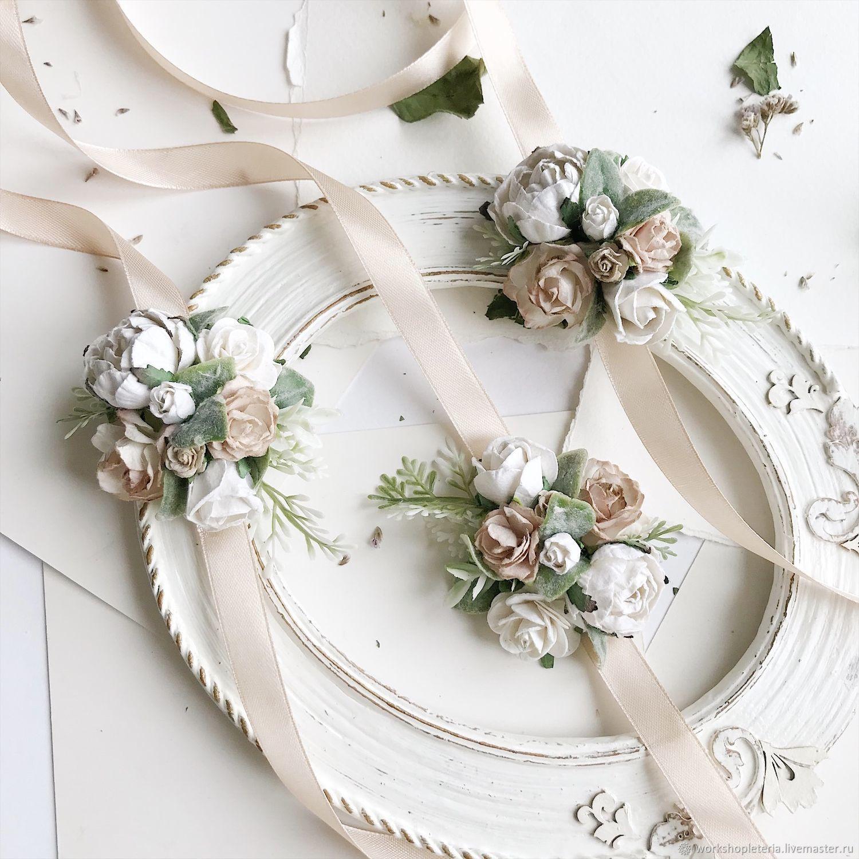 Браслет для подружек невесты с бежевыми и молочными цветами, Браслеты, Санкт-Петербург,  Фото №1