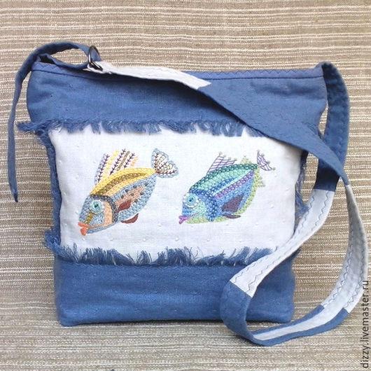 Женские сумки ручной работы. Ярмарка Мастеров - ручная работа. Купить Сумка льняная Море, Рыбы. Handmade. Голубой, синтепон