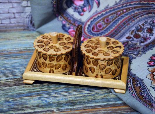Конфетницы, сахарницы ручной работы. Ярмарка Мастеров - ручная работа. Купить Берестяной набор коробочек на подставке для соли перца сахара специй. Handmade.