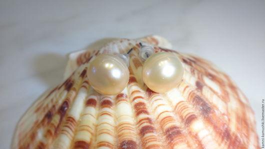 Серьги ручной работы. Ярмарка Мастеров - ручная работа. Купить Серьги-пусеты с персиковым жемчугом. Handmade. Бежевый, персиковые серьги