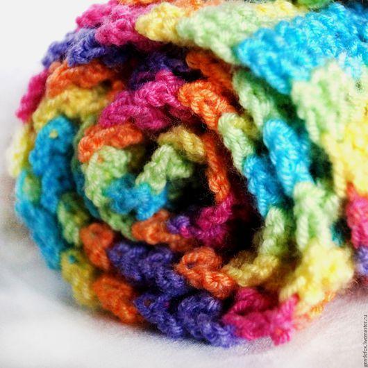 Снуд. Шарф восьмерка. Шарф в полоску. Весна. На весну. Снуд вязаный крючком. Infinitescarf. Circlescarf.  Радужный снуд в полоску: оранжевый, желтый, зеленый, голубой, фиолетовый, розовый.