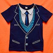 """Работы для детей, ручной работы. Ярмарка Мастеров - ручная работа Детская футболка """"Синий пиджачок"""". Handmade."""
