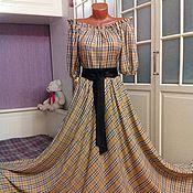 Одежда ручной работы. Ярмарка Мастеров - ручная работа Штапельное платье в пол расцветки Берберри. Handmade.
