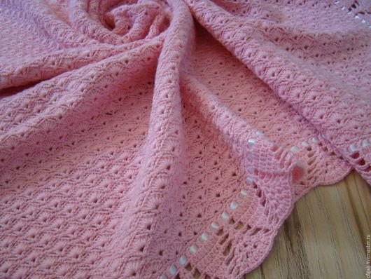 Пледы и одеяла ручной работы. Ярмарка Мастеров - ручная работа. Купить плед вязаный. Handmade. Розовый, плед детский