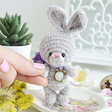 Dolls & toys handmade. Livemaster - original item Grey Bunny sweet baby 7.5 cm. Handmade.