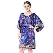 Одежда ручной работы. Ярмарка Мастеров - ручная работа Платье-туника свободная шелковая с поясом Сине-фиолетовые драгоценност. Handmade.