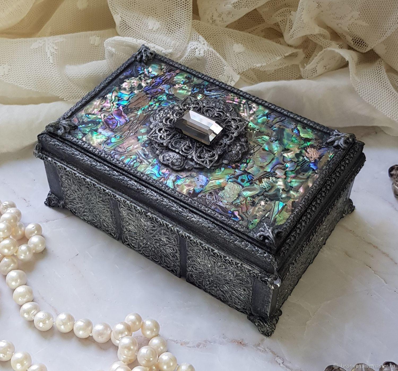 Casket casket with haliotis inlaid with Swarovski, Box, Moscow,  Фото №1