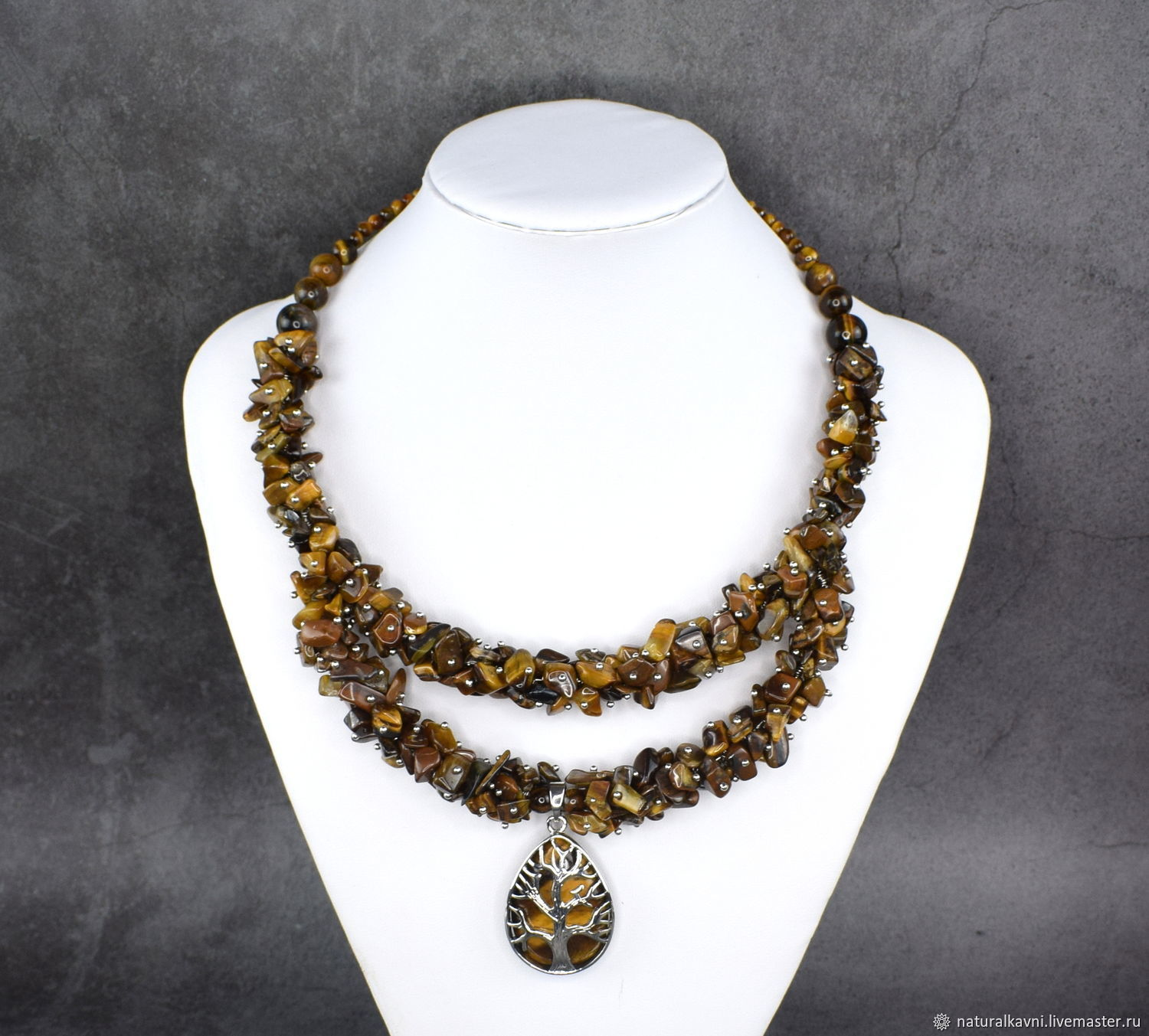 Necklace author's work made of natural stone tiger's eye, Necklace, Moscow,  Фото №1