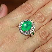 Кольца ручной работы. Ярмарка Мастеров - ручная работа Серебряное кольцо с изумрудом. Handmade.