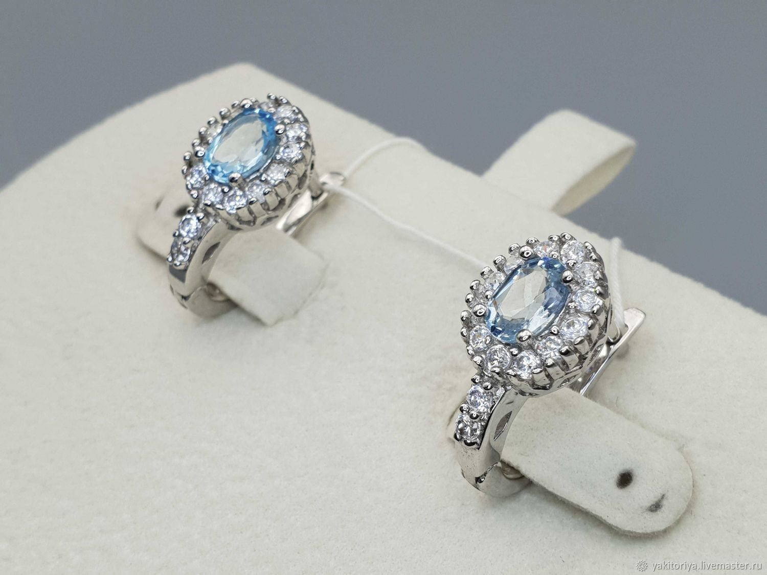 Silver earrings with 7h5 mm topaz and cubic zirconia, Earrings, Moscow,  Фото №1