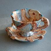 """Чайные пары ручной работы. Ярмарка Мастеров - ручная работа """"Осьминоги"""" Чайная пара. Handmade."""