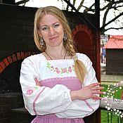 Русский стиль handmade. Livemaster - original item Miroslav Russian Slavic long linen dress. Handmade.