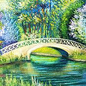 """Картины ручной работы. Ярмарка Мастеров - ручная работа Пейзаж """"Утро в парке"""" картина масло, пейзаж утро парк. Handmade."""