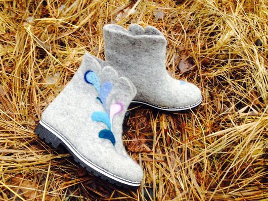 """Обувь ручной работы. Ярмарка Мастеров - ручная работа. Купить Валенки """"Перо жар-птицы""""-работа моей ученицы. Handmade."""