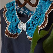 Аксессуары handmade. Livemaster - original item Openwork collar bunk chocolate-blue. Handmade.