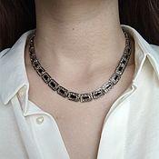 Винтаж handmade. Livemaster - original item Vintage Necklace with Enamel Dark Thin Choker neck Decoration. Handmade.
