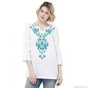 Одежда handmade. Livemaster - original item Linen tunic with a pattern imitating embroidery. Handmade.