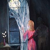 Картины и панно handmade. Livemaster - original item The night of the full moon (oil on canvas, 30h50 cm). Handmade.