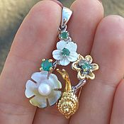 Украшения handmade. Livemaster - original item Exclusive! Silver pendant with pearls, emeralds, SNAIL. Handmade.